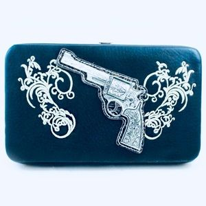 Montana West Metal Gun Embroidered Wallet
